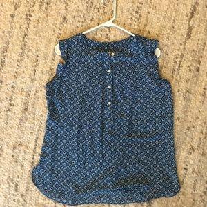 LOFT Maternity sleeveless blouse, small, blue